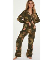 hunkemöller petite pyjamasbyxor med världskarta grön