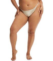 women's good american adjustable bikini bottoms, size 4 - metallic