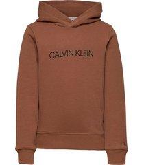 institutional logo hoodie hoodie trui bruin calvin klein