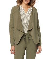 nydj draped open front sweatshirt, size x-small in moss at nordstrom