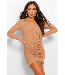 ribbed ruched front collared mini dress, camel