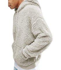 sudaderas con capucha de lana sintética manga larga para hombres-gris