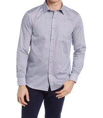 johnston & murphy art deco print button-up shirt, size medium in navy multi at nordstrom