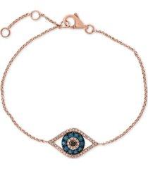 gift by effy diamond evil eye bracelet (1/3 ct. t.w.) in 14k rose gold