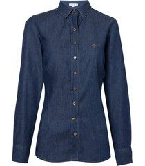 camisa dudalina manga longa jeans tradicional feminina (jeans escuro, 56)