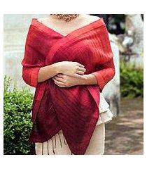 silk scarf, 'scarlet evolution' (thailand)