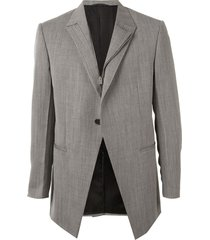 1017 alyx 9sm off-center zip striped blazer - grey
