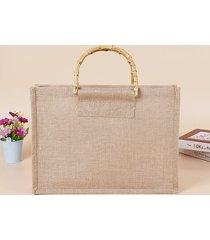 donna cotone e lino retrò letterario borsa cancelleria vintage paglia borsa rattan di bambù borsa
