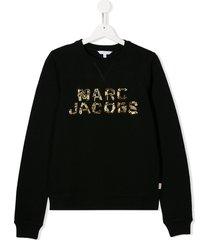 little marc jacobs teen beaded logo sweatshirt - black