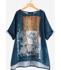 camicetta vintage da donna a manica corta irregolare con stampa a quadri