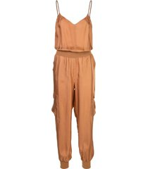 cinq a sept twill amia silk jumpsuit - brown