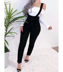 black with belt button design jumpsuit