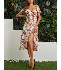 mocasín con abertura en el bajo y estampado floral al azar midi vestido