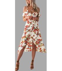 moccasin slit hem random floral print midi dress