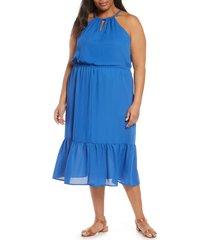 plus size women's gibson x international women's day living in yellow halter midi dress, size 2x - blue