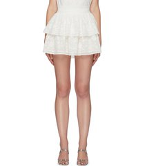 'jojo' floral embroidered double layer ruffle mini skirt