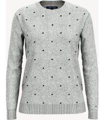 tommy hilfiger women's essential dot sweater light grey heather - xxs