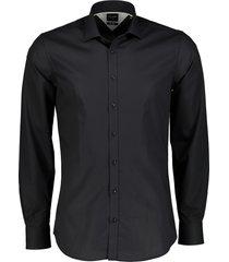 city line by nils overhemd - body fit - zwart