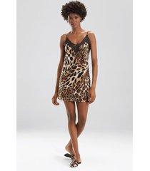 natori luxe leopard chemise pajamas / sleepwear / loungewear, women's, chestnut, size s natori