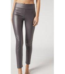calzedonia thermal leather effect leggings woman dark grey size xl