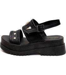 sandalia de cuero negra valentia calzados sofia plataforma