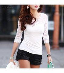 zanzea otoño mujer blusas moda camisas delgadas blusa encaje manga larga o cuello tops tallas grandes blanco -blanco