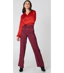 na-kd jacquard satin wide pants - purple