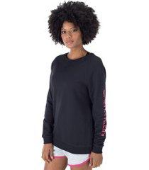 blusão de moletom calvin klein silk - feminino - preto/rosa