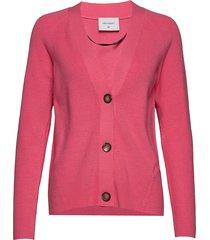 clarins-car stickad tröja cardigan rosa free/quent