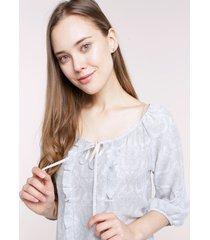 blusa estampada manga 3/4 azul 12