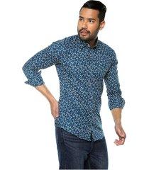 camisa manga larga slim fit masculina verde con flores beige los caballeros
