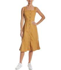 oat cotton flounce midi dress
