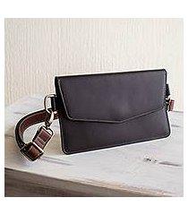 leather shoulder bag, 'practical chic' (el salvador)