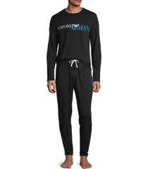 emporio armani men's 2-piece long sleeve pajama set - black - size m
