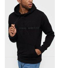 calvin klein jeans taping through monogram hoodie tröjor black