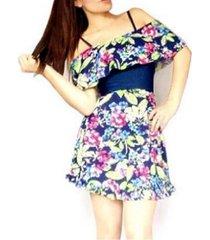 vestido escote recto con vuelo sarab- estampado flores/azul