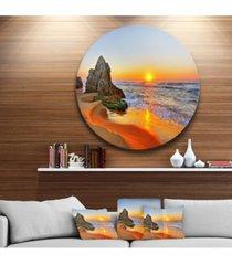 """designart 'beautiful sunrise by beach in tathra' seashore metal circle wall art - 38"""" x 38"""""""