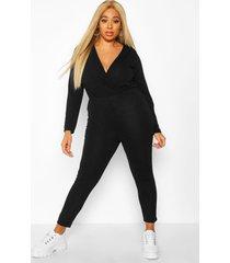 plus super soft tie waist longsleeve jumpsuit, black
