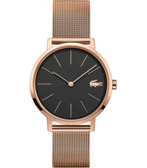 lacoste women's moon rose gold-tone stainless steel mesh bracelet watch 35mm