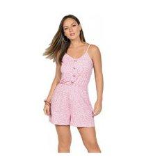 macaquinho feminino moda pop com alças rosa