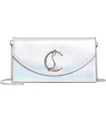 christian louboutin loubi54 metallic leather clutch - metallic