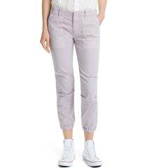 women's nili lotan stretch cotton twill crop military pants, size 10 - purple