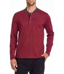 tallia men's slim fit burgundy long sleeve henley and a free face mask with purchase