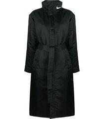 nike swoosh tie-waist trench coat - black
