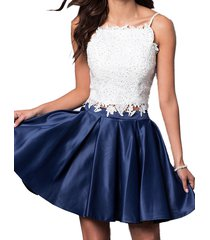 dislax spaghetti straps lace satin short 2 piece homecoming dress cocktail gowns