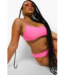 plus essentials korte bikini top met bandjes, pink