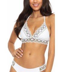 becca tallulah crochet trim halter bikini top, size small in white at nordstrom