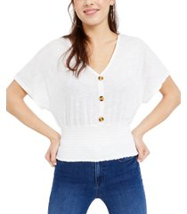 crave fame juniors' button-front smocked top