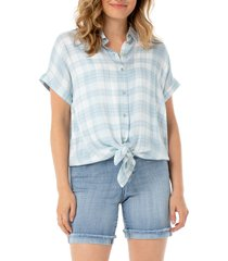 women's liverpool plaid tie front short sleeve button-up shirt, size medium - blue