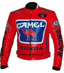 honda camel hot brick red racing jacket motorcycle leather paddings xs-6xl men